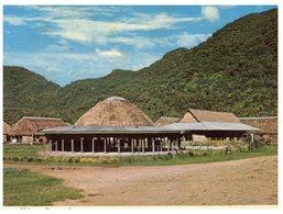 (215) American Samoa To Australia Postcard - Modern Native Village (but Posted With Tonga Stamps) - American Samoa