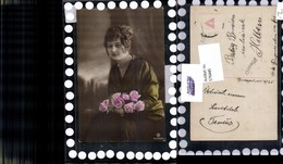 576445,Foto-AK Frau Portrait Frauen Mädchen Halskette Kette Rosen Pub RPH SBW 6229/30 - Frauen