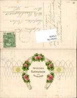 576439,tolle Präge Lithographie Namenstag Klee Blumen Verzierung - Feiern & Feste