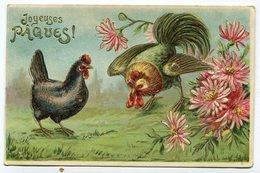 CPA  Fantaisie : Joyeuses Pâques Poule Et Coq; Carte Gaufrée VOIR  DESCRIPTIF §§§ - Fantaisies