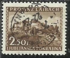 LUBIANA OCCUPAZIONE TEDESCA GERMAN OCCUPATION 1945 VEDUTE VIEWS LIRE 2,50 USATO USED OBLITERE' - Occup. Tedesca: Lubiana
