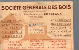 Bordeaux (33 Gironde) Carte SOCIETE GENERALE DES BOIS  A Rabeau (PPP14737) - Advertising