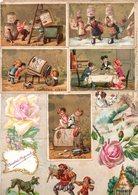 Liebig.patineuses,restaurant,wagonnet. (5 Chromos). Chocolat Du Planteur.(9 Chromos).Découpis. - Liebig