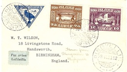 28-V1-30 -air Mail  Cover From THINGVELLIR  To REYKJAVIK Fr. 45 Aurar  With Y & T N° 3 Ae - 1918-1944 Administration Autonome
