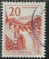 JUGOSLAVIA YUGOSLAVIA 1959 PERF 12 1/2 Jabtanica Hydroelectric Works DAM DIGA 20d USATO USED OBLITERE - 1945-1992 Repubblica Socialista Federale Di Jugoslavia
