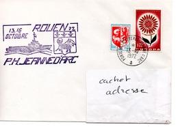 PORTE HELICOPTERES JEANNE D'ARC Escale à Rouen 13-16 Octobre Obl. JDA 13/10/72 - Postmark Collection (Covers)