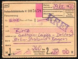 B6072 - Fahrschein Ticket - DR Deutsche Reichsbahn - Binz Geithain Leipzig Delitzsch Berlin Stralsund Bergen - Chemins De Fer