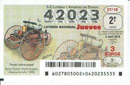 DIBUJO COCHES ANTIGUOS- BENZ PATENT MOTORWAGEN GERMANY 1886 .  OLD CAR, ANCIEN VOITURE - Spain Lottery Ticket - Loterijbiljetten