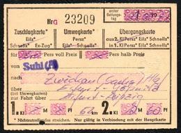 A3111 - Fahrschein Ticket - DR Deutsche Reichsbahn - Suhl Zwickau Erfurt Leipzig - Chemins De Fer