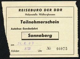 B6230 - Fahrschein Fahrkarte Ticket - Bus Autobus Omnibus - Reisebüro Der DDR Sonneberg - Bus