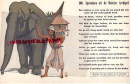 BUVARD ELEPHANT -  PROVERBE MALAISIE- SPREUKEN UIT DE MALEISE ARCHIPEL - RARE BUVARD RIGIDE- MALAISIE - Animals