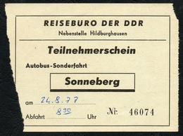 B6229 - Fahrschein Fahrkarte Ticket - Bus Autobus Omnibus - Reisebüro Der DDR Sonneberg - Bus