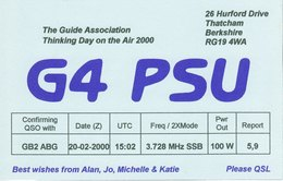 Amateur Radio QSL Card G4PSU The Guide Association Thinking Day On The Air 2000 - Radio Amateur