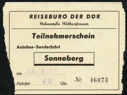 B6435 - Fahrschein Fahrkarte Ticket - Bus Autobus Omnibus - Reisebüro Der DDR Sonneberg - Bus