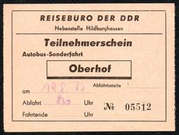 B6436 - Fahrschein Fahrkarte Ticket - Bus Autobus Omnibus - Reisebüro Der DDR Oberhof - Bus