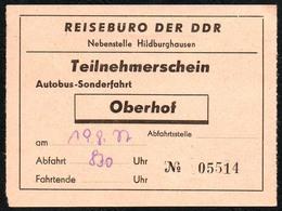 B6438 - Fahrschein Fahrkarte Ticket - Bus Autobus Omnibus - Reisebüro Der DDR Oberhof - Bus