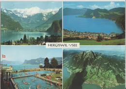 Hergiswil Am See - Blick Gegen Stansstad Und Brisen, Geheiztes Freibad - Photo: Engelberger - NW Nidwald
