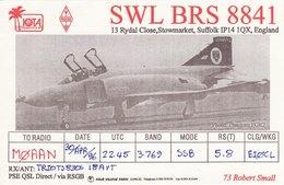 Amateur Radio QSL Card SWL BRS 8841 Stowmarket 1996 Phantom FGR2 Aircraft - Radio Amateur