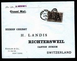 A5611) USA Brief New York 15.4.1893 N. Richtersweil / CH Mit EF 10c Columbus - 1847-99 Unionsausgaben