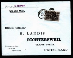 A5611) USA Brief New York 15.4.1893 N. Richtersweil / CH Mit EF 10c Columbus - 1847-99 Emissioni Generali