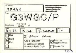 Amateur Radio QSL Card G3WGC 1996 Welwyn Hatfield Club G3WGC/P - Radio Amateur