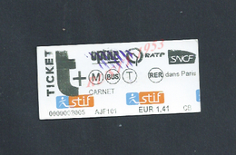 TICKET DE TRANSPORT SNCF R ATP : - Chemins De Fer