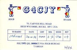 Amateur Radio QSL Card G4CJY Carver Hill Rd High Wycombe Bucks 1996 Flag Signal - Radio Amateur