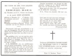 Devotie - Devotion - Doodsprentje Broeder Erminus Maria - Remi Leyssens - Heusden 1919 - Bornem 1960 - Announcements