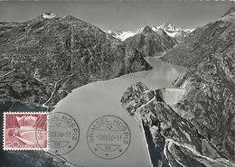D34838 CARTE MAXIMUM CARD 1956 SWITZERLAND - ALPS MOUNTAINS GRIMSELSEE DAM GRIMSEL HOSPIZ BARRAGE CP ORIGINAL - Géologie