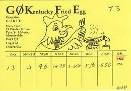Amateur Radio QSL Card G0KFE Fish Parr St Helens 1996 Chicken Rooster GØKFE - Radio Amateur