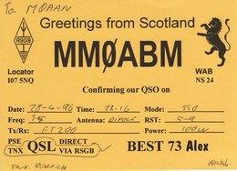 Amateur Radio QSL Card MM0ABM Greetings From Scotland 1996 Lion MMØABM - Radio Amateur