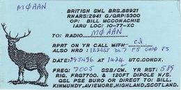 Amateur Radio QSL Card BRS88921 Kinmundy Aviemore Scotland 1996 Stag Deer - Radio Amateur