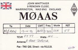 Amateur Radio QSL Card M0AAS Whittaker Warrington 1996 MØAAS Union Flag - Radio Amateur