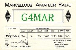 QSL Card G4MAR Marvellous Amateur Radio Rowe Willenhall 1996 - Radio Amateur