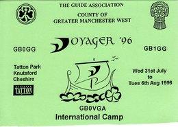 Amateur Radio QSL Card GB0VGA The Guide Association Voyager Tatton Park 1996 - Radio Amateur