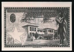 FOTOKAART GENERALE BANK VAN BELGISCH CONGO EN RUANDA URUNDI  TWINTIG FRANK - Monnaies (représentations)