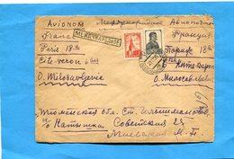 Marcophilie- Lettre U R S S-pour Françe-cad 1956 Affranchissement 2 Timbres 10+1 K - 1923-1991 URSS