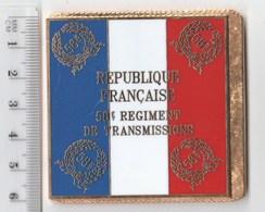 DRAPEAU 58° RT REGIMENT DE TRANSMISSIONS   En Métal Doré - Drapeaux
