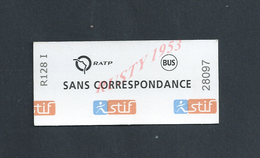 TICKET DE TRANSPORT R ATP BUS : - Chemins De Fer