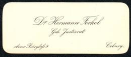 B6461 - Coburg - Dr. Hermann Forkel - Justizrat - Visitenkarte - Visitenkarten