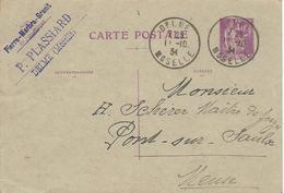 MOSELLE ENTIER POSTAL A 40 CT TYPE PAIX AVEC CACHET DE DELME - Alsace Lorraine
