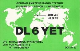 German Amateur Radio QSL Card DL6YET Greven Germany Pfanenstiel 1996 - Radio Amateur