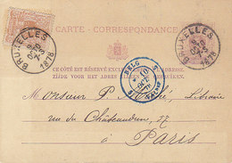 Belgique,entier Postal Du 5cts N° 28 + Un Tp En Complément + Cachet D'entrée Bleu Belg/Val.,pour La France,1878 - Ganzsachen