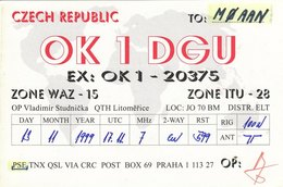 Czech Amateur Radio QSL Card OK1DGU Prague 1999 Studnicka Praha - Radio Amateur