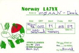 Norwegian Amateur Radio QSL Card LA7YX Kvinesdal Norway 1998 Jansen - Radio Amateur