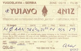 Serbian Amateur Radio QSL Card YU1AVQ 4N1Z Zemun Serbia 1997 Belgrade Yugoslavia - Radio Amateur
