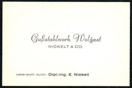 B6476 - Wolgast - Gußstahlwerk Nickel & Co - Visitenkarte - Visiting Cards