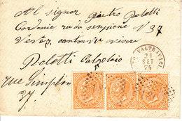 LETTRE DE 1874 POUR LA SUISSE - VEVEY - DIVERS CACHETS AU DOS - 1861-78 Vittorio Emanuele II