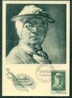 CM-Carte Maximum Card # 1956-FRANCE # Art # Célébrités # J.B. Chardin, Peintre,Painter,Maler # (self-portrait) # Paris - Maximumkarten