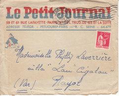 """LETTRE AVEC LOGO """" LE PETIT JOURNAL """" PARIS - 1935 - EN L'ETAT - Postmark Collection (Covers)"""